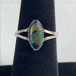 Sterling Silver Blue Green Abalone Ring Size 6